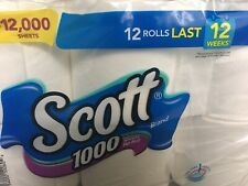SCOTT Toilet Paper Bathroom Tissue 12 Rolls 1000 Sheets Per Roll = 12000 Sheets