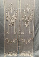 Antiche Tendine Tende Coppia Filet A Mano 210x50cm Ogni Pannello