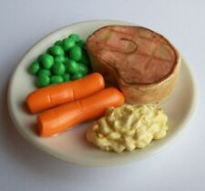 Doll Dinner Meat Peas Carrots Mashed Potatoes on a Dish Perfect for 18 Inch Doll