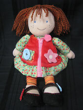 Carters Learn to button, zip, snap crinkle dress doll brown pig tails Curly hair