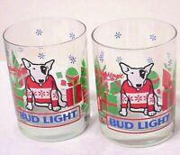 2 VINTAGE 1987 SPUDS MACKENZIE BUD LIGHT DRINKING MUG GLASSES VTG ANHEUSER-BUSCH