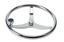 "Stainless Steel Boat Steering Wheel 3 Spoke 13-1/2"" Dia 5/8""-18 Nut&Turning Knob"