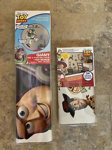 NEW - (2) Toy Story Peel And Stick Wall Decal Sets - Giant Buzz & Characters