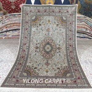 Yilong 5'x8' 500Lines Hand knotted Silk Carpet Oriental Home Area Rug MC513H