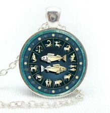 "Silver plated 18"" chain and pendant necklace with glass cabochon Pisces Zodiac"