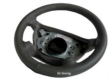 REAL DARK GREY LEATHER STEERING WHEEL COVER FOR LANCIA PHEDRA 2002-2010