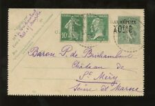 FRANCE 1928 STATIONERY LETTERCARD UPRATED