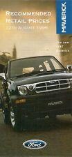 Ford Maverick Prices & Options 1996-97 UK Market Foldout Brochure GLS 2.4i 2.7TD