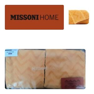 MISSONI HOME Rex 2 Hand Guest TOWELS Cotton Textured Gold/Yellow Herringbone