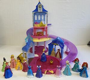 Disney Princess Glitter Glider Castle & Magic Clip Dolls Bundle