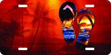 airbrushed aluminum flip flops beach scene car tag palm trees art license plate
