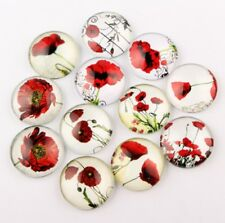 10 Poppy Flower Dome Cabochons Round Glass Cabochon Flat Back 10/14/20/25mm UK