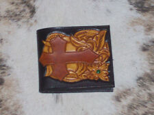 MENS WALLET CUSTOM CARVED CARVED FLORAL TOOLED LEATHER WESTERN RODEO BILLFOLD #2