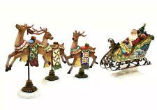 Kirkland Santa Sleigh Reindeer Christmas Figurine Carved Look Hand Painted Set 4