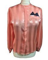 British Vintage Blouse Mistress Secretary Shirt Glossy Ladylike TV CD Top UK 10
