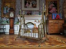 Dollhouse Miniature Artisan Hand Crafted Brass Baby Crib 1:12