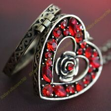 XMAS SALE Gifts For Her - Ruby Red Heart Crystal Locket Necklace Wife Love Women