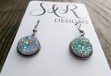 Stainless Steel Faux Druzy Hook Dangle Earrings Sparkly Light Pink AB