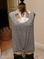 Rebellious One NWT Women's Tie Front Hi Lo TankTop-Shirt Size XL Blk/White Flowy