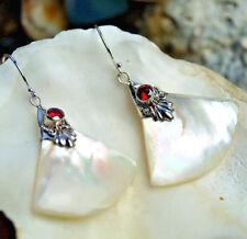 Ohrhänger Perlmutt Schimmer Gold Fächer Silber Granat Rot Ohrringe Orient Retro