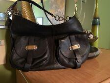 Authentic FURLA Handbag Black Grain Leather Satchel Shoulder Large Bag