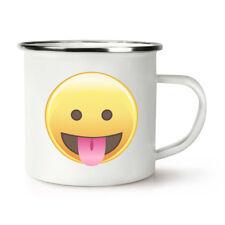 Langue yeux ouverts emoji rétro émail tasse