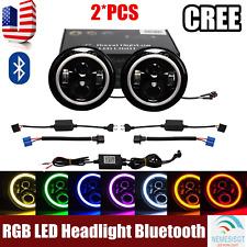 "2X 7"" 40W CREE RGB Halo Ring 7"" Bluetooth APP LED Headlights Jeep Wrangler JK NE"