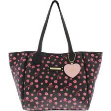 Juicy Couture Womens Love Me Not Black Logo Tote Handbag Purse Large BHFO 7061