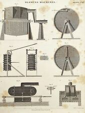 Blowing Machines Machinery - Original Victorian 1850 Antique Print B/W Engraving