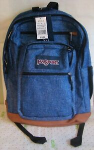 NWT Jansport Leather Bottom Backpack Cool Student Blue Heathered Twill