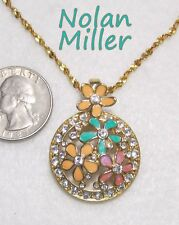 Signed NOLAN MILLER Enhancer Pendant Necklace, Openwork Colorful Enamel Flowers