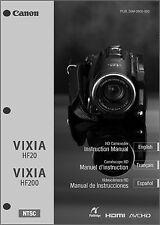 Canon VIXIA HF20, HF200 Camcorder User Instruction Guide  Manual