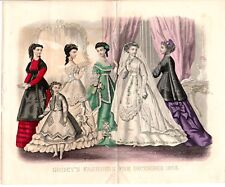 1868 Antique Hand colored Fashion Print Godey's December wedding gowns Victorian
