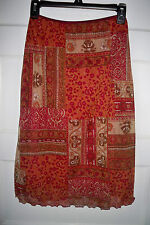 *Wrapper* Stretch Burgundy/Brown Print, Summer Skirt Size M