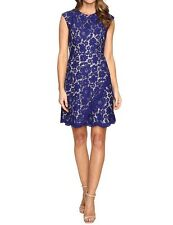 VINCE CAMUTO Dress Royal Blue Lace Fit And Flare Sleeveless XS 2 New Spring