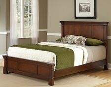 Rustic Cherry Queen Size Beds Headboard Footboard Bed Frame Bedroom Furniture