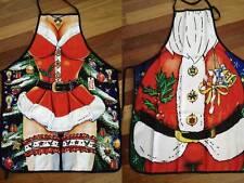Mr Mrs Santa Claus Festive Xmas BBQ Apron Party Novelty Costume Kris Kringle Fun