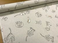 Woodland Natural Cat & Mouse Print Cotton Fabric Curtain Upholstery Crafts