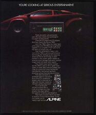 1986 LAMBORGHINI Red Sports Car - ALPINE 7902 Car Stereo w/ CD Player VINTAGE AD