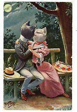 POSTCARD THIELE CATS KISS IN MOONLIGHT T.S.N. SERIES 851