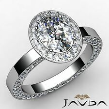Halo Pave Set Oval Cut Diamond Engagement Ring GIA F Color VS1 Platinum 2.95ct