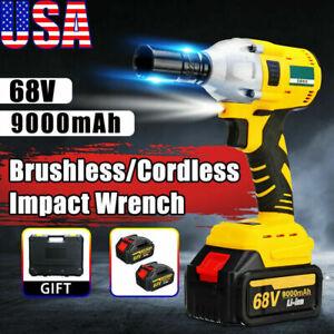 "1/2"" 68V Brushless Impact Wrench Torque Rattle Gun kit Electric cordless battery"