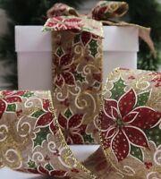 63MM Wire Edge POINSETTIA CHRISTMAS Burlap Ribbon Wreath New Year Party deco DIY