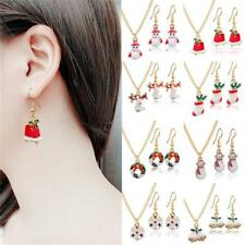 Deer Necklace Charm Gift Xmas Jewelry Set Red Bell DIAMOND Snowman Earrings