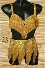 Egyptian Belly Dance Costume bra Belt Set Professional Dancing Gold Beads