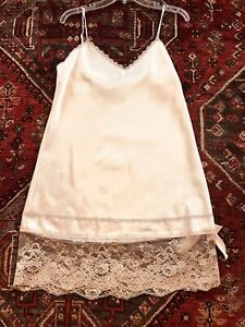 Vintage Satin Bridal Negligee Lingerie M, Colesce Couture, Pale Pink