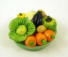 NEW AMAZING HAND PAINTED CERAMIC MINIATURE COLORFUL TRAY WITH VEGGIES FIGURINE