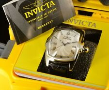 Invicta Grand Lupah Tonneau Swiss Turbine ISA Silver Tone Blk Leather Strap Watc