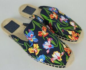 Tory Burch Embroidered Iris Espadrille Slide Sandals 7