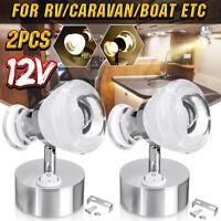 2X 12V Double Head LED Reading Spot Light Caravan Motorhome RV Bedside Wall
